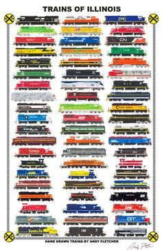 Trains of Illinois: Hand drawn locomotives of Illinois, past and present by Andy Fletcher
