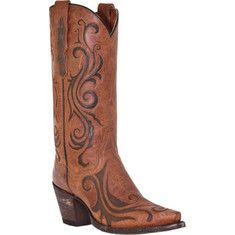 This cowgirl boot has a leather upper and foot with a contrasting inlay and a snip toe, a leather lining, and a leather outsole.
