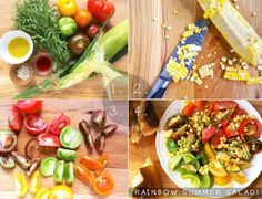 rainbow summer salad in four easy steps