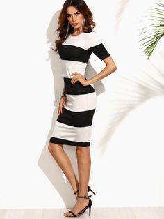 Contrast Wide Stripe Pencil Dress | Shein