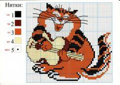 View album on Yandex. Cat Cross Stitches, Cross Stitching, Cross Stitch Music, Cat Mouse, Chart Design, Cross Stitch Animals, Plastic Canvas Patterns, Tigger, Needlepoint