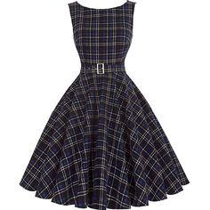 Schwarzes Vintage Kleid Kariert