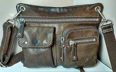 VTG. Fossil Sutter Brown Genuine Pebbled Leather Crossbody Purse Messenger Bag