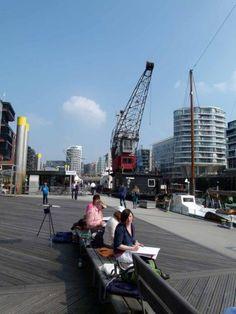 Malreise Hamburg – unser erster Tag in der Hafencity | Die Hafencity Hamburgs lädt zum Aquarell malen ein (c) Frank Koebsch