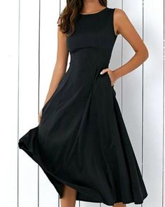 Black A-line Women Sleeveless Pockets Solid Summer Dress Vestiti Per Donne  Casual 00eba223e7c
