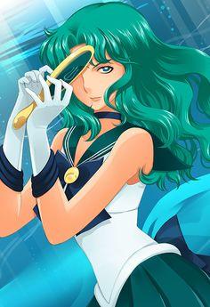 dara-onigiri:  La guerrière du fond des océans… Sailor Neptune et son miroir de vérité!!! Plus que quelques jours et je vous en dirai un peu plus sur ce petit fanzine ^^!!!