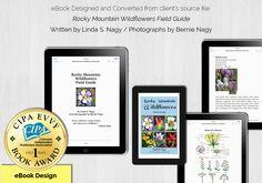 First Place Award - eBook Design for Rocky Mountain Wildflowers Field Guide, Rocky Mountains, Wild Flowers, Web Design, Writing, Places, Books, Livros, Design Web