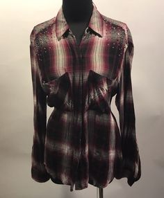 Express Burgundy Black Gray Plaid Studded Hidden Button 100% Rayon Blouse S Euc #Express #Blouse #CasualDress