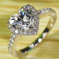 Feel Like a Star. Heart Love White Topaz Diamonique 925 Silver Filled Wedding Ring