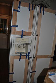 Amazing Grays: DIY Paneled Refrigerator How to make your refrigerator match your cabinets! Amazing Grays: DIY Paneled Refrigerator How to make your refrigerator match your cabinets! Refrigerator Makeover, Painted Fridge, Refrigerator Panels, Refrigerator Cabinet, Painted Appliances, Refrigerator Decoration, Fridge Decor, Kitchen Redo, Kitchen Design