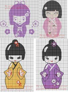 Kokeshi patterns by grilles point de croix et cie