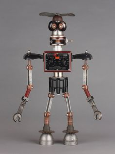 Found Object Robot Assemblage Sculpture By Brian Marshall.