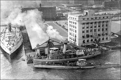 1919 photo - captures the Toronto waterfront, with captured WWI German U-Boat. The Harbour Commission Building really is in the water, and submarining technology is scary. Toronto Ontario Canada, Toronto City, German Submarines, Canadian History, Mystery Of History, Lake Michigan, Aerial View, Old Pictures, Natural