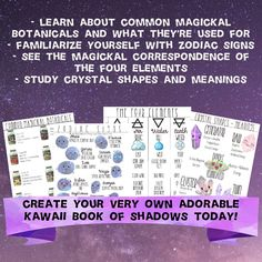Printable Book of Shadows Kawaii Series Cute Grimoire Fundamentals of Witchcraft Print Your Own Magick Book Spells Occult Metaphysical Print