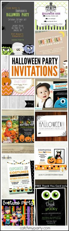 Halloween Party Invitation Roundup -- birthday invitations, costume party invitations, and grown up Halloween party invitations | CatchMyParty.com