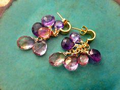 Purple cluster earrings,Dangle earrings,Amethyst,Topaz,Ametrine earrings,24k gold vermeil post earrings,purple gemstone,drop earrings,Bridal by MatanaJewelry on Etsy https://www.etsy.com/listing/194695508/purple-cluster-earringsdangle