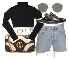 """Untitled #23176"" by florencia95 ❤ liked on Polyvore featuring Gucci, Levi's, Ray-Ban and Estella Bartlett"