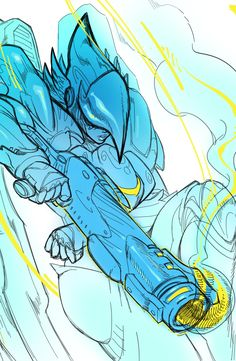 Pharah in action sketch! Overwatch art by Slobface