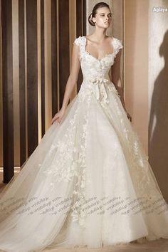 Aライン ウェディングドレス コートトレーン ショルダー オフホワイト 001980001004