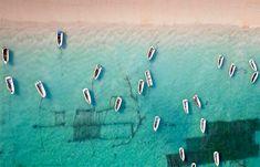 rowboats near bali, indonesia