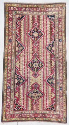 "Karabaugh 7400  Size: 2'11"" X 5'4""  (89 x 164 cm)  Age: DATED 1870  Price: $6500.00  - See more at: http://www.antiqueorientalrugs.com/caucasian.htm#sthash.Ebg4xPaA.dpuf"
