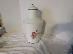 Tall Enamel Milk/ Water Pail Pitcher Hand Painted Floral Lid Marked French Chic