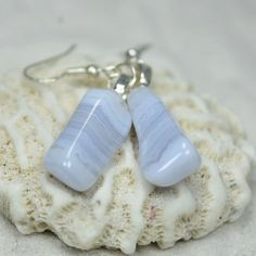 Blue Lace Agate Stone Earrings Stone Earrings, Dangle Earrings, Blue Lace Agate, Tumbled Stones, Stone Names, Minerals And Gemstones, Agate Stone, Healing Stones, Sterling Silver Earrings