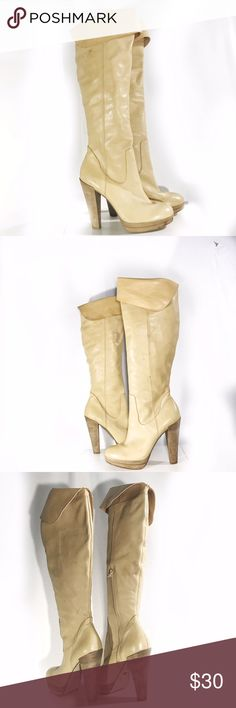 """CARLOS SANTANA INTRIGUE BEIGE KNEE LEATHER BOOTS 9 Beige shade leather 3.5 inch fold at knee . Wooden heel 5.5"""" , .75 platform. Worn once for model shoot. Theres mild scratching, see pic 4 for details. Retail $189 Carlos Santana Shoes Heeled Boots"""
