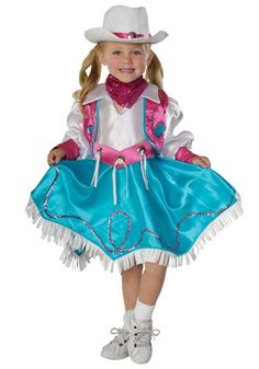 Let your little girl be the cutest in the west in this Child Rodeo Princess Costume. This is the perfect costume for a cowgirl and cowboy themed party!