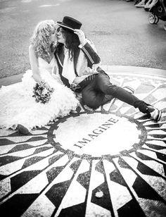 True Rock Star Central Park Wedding: George  Adam Bomb