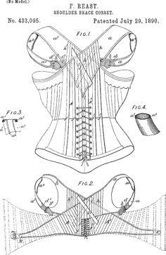 CORSET Patents- 1890 Shoulder-brace Corset.