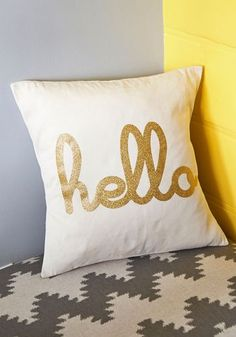 Hello, Is it Gleam You're Looking For? Pillow - Cotton, Woven, Cream, Gold, Novelty Print, Glitter, Dorm Decor, Graduation, Gals