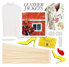 """""""Leather Jackets"""" by anastasia-ana ❤ liked on Polyvore featuring Gucci, Alice + Olivia, Chanel, Victoria, Victoria Beckham, Gianmarco Lorenzi, Anja, Maybelline, contest, leatherjackets and contestentry"""