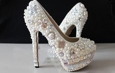 Rhinestone Pearl wedding Shoes Crystal Bridal Shoes, Bridal, Women's Shoes Platform Dress Shoes