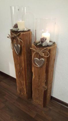 Wooden House Decoration, Wooden Decor, Wooden Crafts, Rustic Decor, Diy Garden Decor, Diy Home Decor, Decor Room, Wall Decor, Candle Lanterns