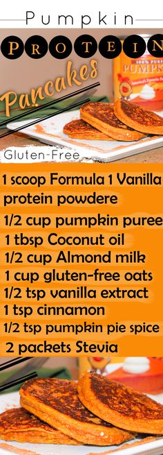 The best gluten free pumpkin pancake recipe.  So moist and tasty and just a hint of pumpkin.  Super healthy and yummy breakfast.  http://michellemariefit.publishpath.com/healthy-snacks-recipes-pumpkin-protein-pancakes