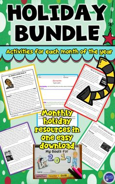 This resource includes sixteen activities to use with your students to celebrate the different holidays during the school year. There are STEM projects as well as nonfiction articles and activities for your students to complete.