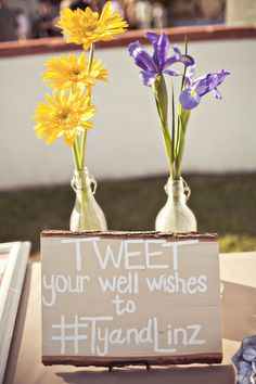 "Love this ""tweet"" sign with hashtag to give your well wishes to the bride & groom. #wedding"