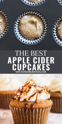 Bake these Apple Cider Cupcakes for a fun fall treat, with their moist, tender crumb and cream cheese frosting - you cannot go wrong! No bourbon? No problem, just use apple cider in the frosting, too. Cupcake Recipes, Baking Recipes, Cupcake Cakes, Dessert Recipes, Cupcakes, Mini Desserts, Fall Desserts, Just Desserts, Winter Recipes