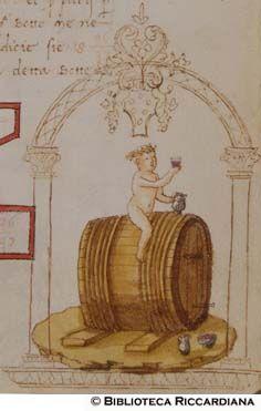 Ricc. 2669, FILIPPO CALANDRI, Trattato di aritmetica Sec. XV, fine; Firenze; bottega di Boccardino il vecchio.  Putto a cavallo di una botte di vino, c. 98r