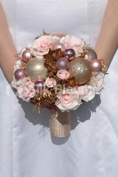 Shop Pink Real Touch Rose Festive Christmas Bauble Wedding Bouquet online from Silk Blooms at just £ It is an online artificial wedding flowers store in UK. Bridesmaid Flowers, Bride Bouquets, Floral Bouquets, Christmas Wedding Flowers, New Years Wedding, Winter Bouquet, Alternative Bouquet, Bride And Groom Gifts, Winter Wonderland Wedding