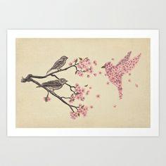 Blossom Bird  Art Print by Terry Fan - $18.00