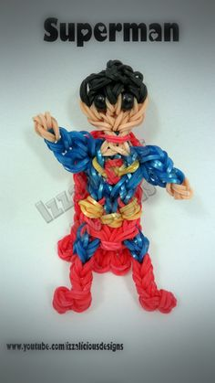 Rainbow Loom Superman Charm/Action Figure tutorial by Izzalicious Designs.
