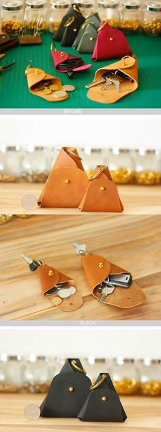 Handmade Simple Style Leather Headphone Bag Coin Purse