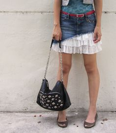 make a blue jean 'overskirt' and emulate this look with layers.