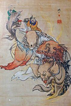 高井鴻山 化物図 Specters Japanese Yokai, Japanese Drawings, Monster Illustration, Japanese Folklore, Japanese Painting, My Secret Garden, Woodblock Print, Demons, Asian Art