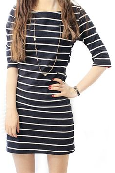 abaday Stripe Print Round Neck Cropped Sleeves Dress - Fashion Clothing, Latest Street Fashion At Abaday.com