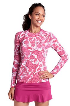 Women's Paisley Crewneck Swim Tee Cover-up from Lands' End