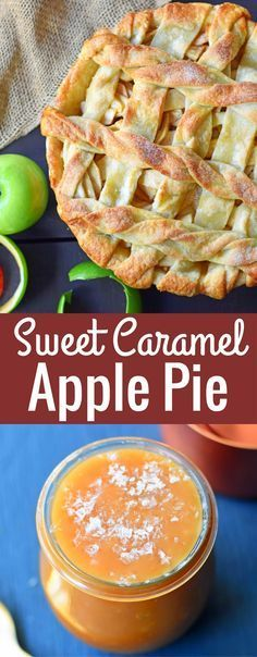 Caramel Apple Pie made with sauteed apples with brown sugar and butter and topped with homemade salted caramel sauce in a buttery flaky crust. Carmel Apple Pie Recipe, Apple Pie Recipe Easy, Homemade Apple Pies, Apple Pie Recipes, Apple Desserts, Pastry Recipes, Pinterest Dessert Recipes, Fall Dessert Recipes, Delicious Desserts