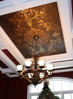 Modello™ Designs vinyl stencil on ceiling.
